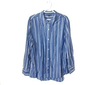 NWOT Tahari Blue and White Striped Button Down